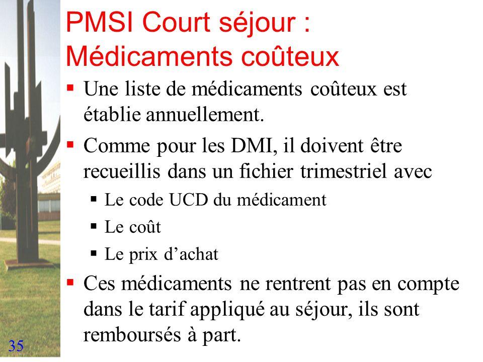 35 PMSI Court séjour : Médicaments coûteux Une liste de médicaments coûteux est établie annuellement. Comme pour les DMI, il doivent être recueillis d
