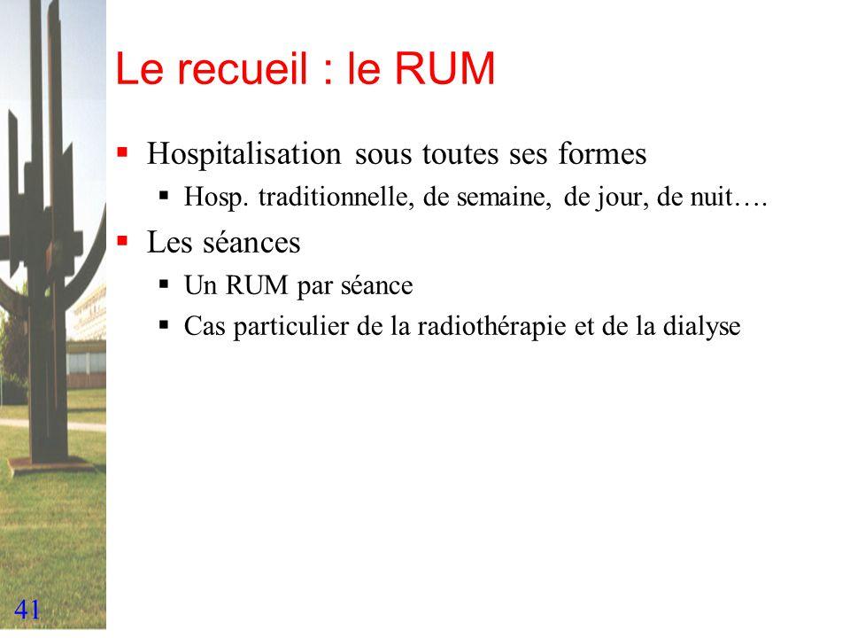 41 Le recueil : le RUM Hospitalisation sous toutes ses formes Hosp. traditionnelle, de semaine, de jour, de nuit…. Les séances Un RUM par séance Cas p