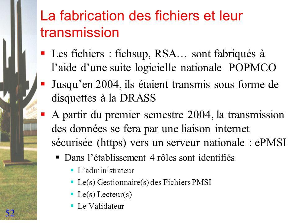 52 La fabrication des fichiers et leur transmission Les fichiers : fichsup, RSA… sont fabriqués à laide dune suite logicielle nationale POPMCO Jusquen