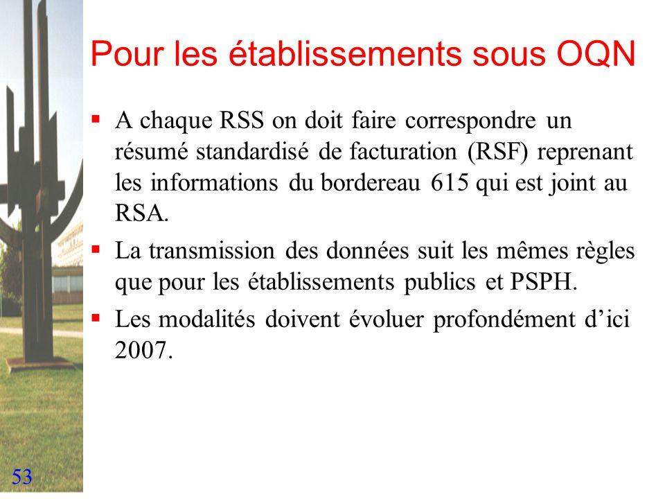 53 Pour les établissements sous OQN A chaque RSS on doit faire correspondre un résumé standardisé de facturation (RSF) reprenant les informations du b