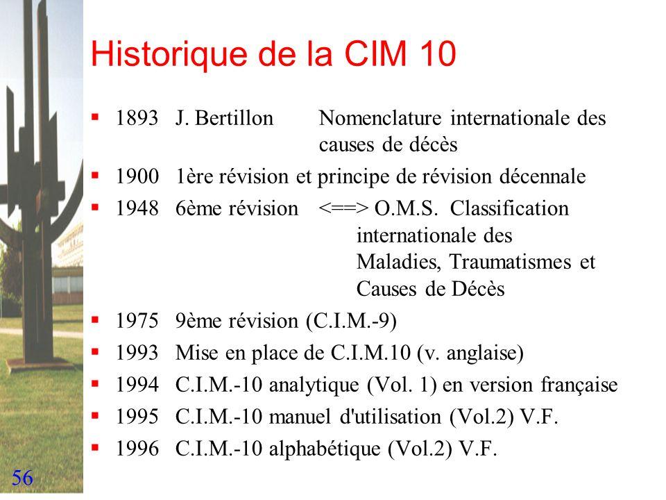 56 Historique de la CIM 10 1893J. BertillonNomenclature internationale des causes de décès 19001ère révision et principe de révision décennale 19486èm
