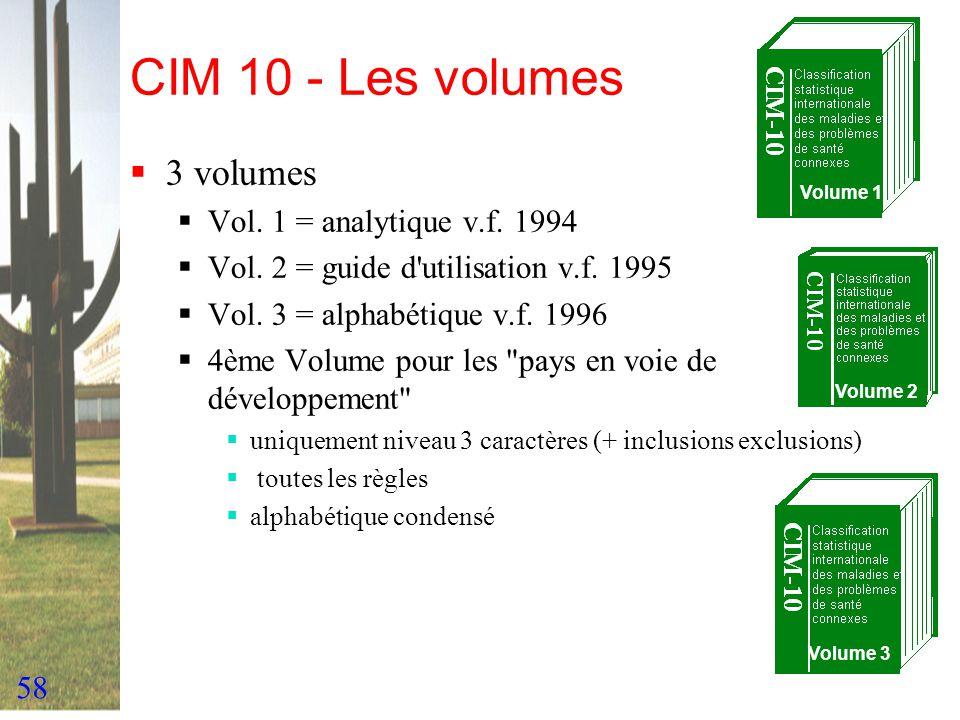 58 CIM 10 - Les volumes 3 volumes Vol. 1 = analytique v.f. 1994 Vol. 2 = guide d'utilisation v.f. 1995 Vol. 3 = alphabétique v.f. 1996 4ème Volume pou