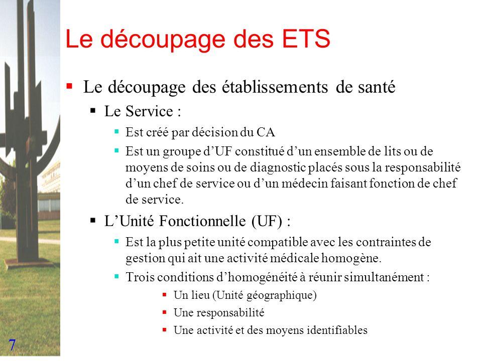 7 Le découpage des ETS Le découpage des établissements de santé Le Service : Est créé par décision du CA Est un groupe dUF constitué dun ensemble de l