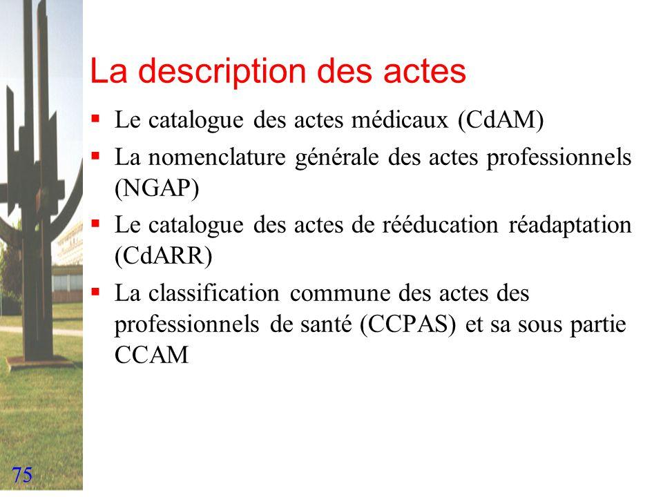75 La description des actes Le catalogue des actes médicaux (CdAM) La nomenclature générale des actes professionnels (NGAP) Le catalogue des actes de
