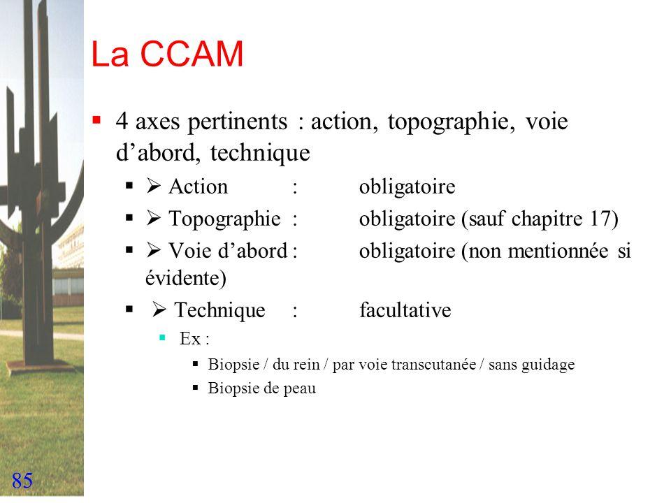 85 La CCAM 4 axes pertinents : action, topographie, voie dabord, technique Action :obligatoire Topographie:obligatoire (sauf chapitre 17) Voie dabord: