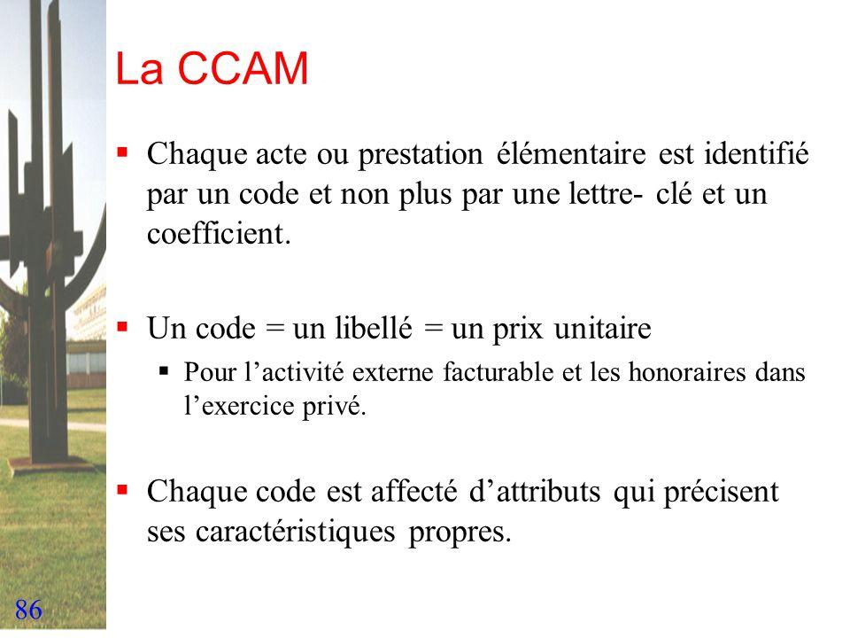 86 La CCAM Chaque acte ou prestation élémentaire est identifié par un code et non plus par une lettre- clé et un coefficient. Un code = un libellé = u