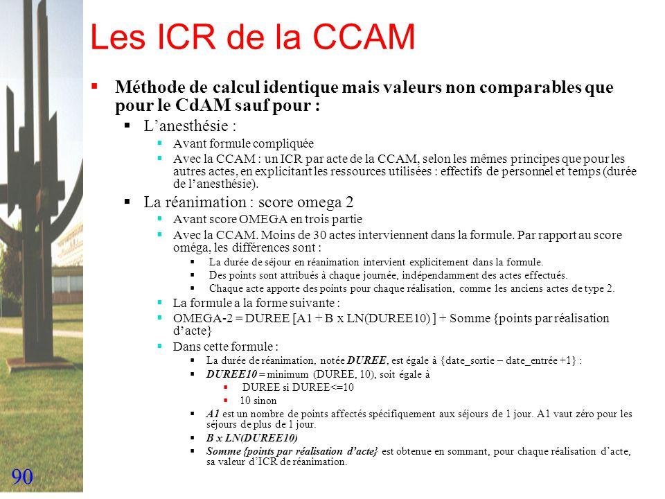90 Les ICR de la CCAM Méthode de calcul identique mais valeurs non comparables que pour le CdAM sauf pour : Lanesthésie : Avant formule compliquée Ave