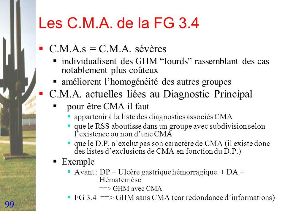 99 Les C.M.A. de la FG 3.4 C.M.A.s = C.M.A. sévères individualisent des GHM lourds rassemblant des cas notablement plus coûteux améliorent lhomogénéit
