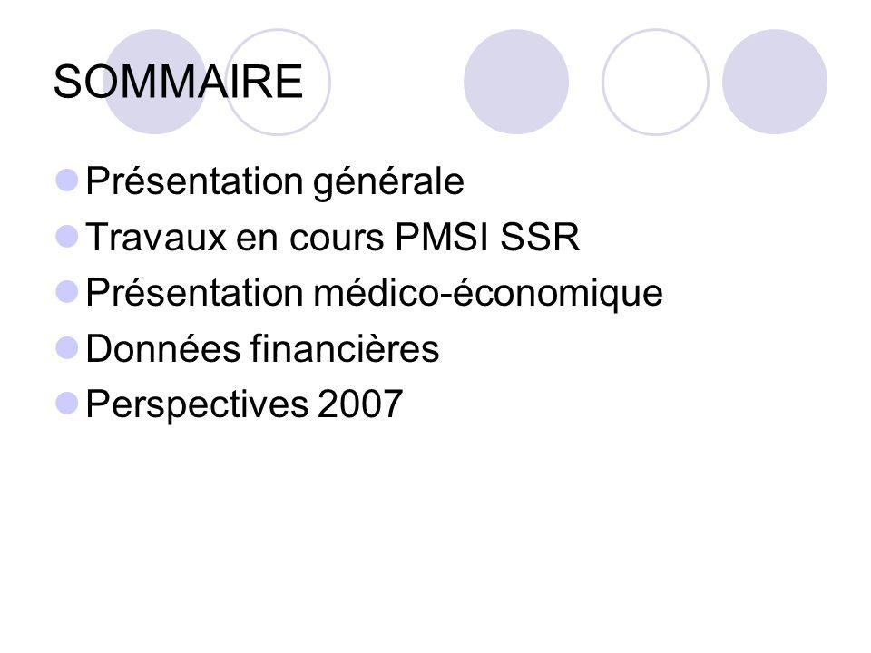 SOMMAIRE Présentation générale Travaux en cours PMSI SSR Présentation médico-économique Données financières Perspectives 2007