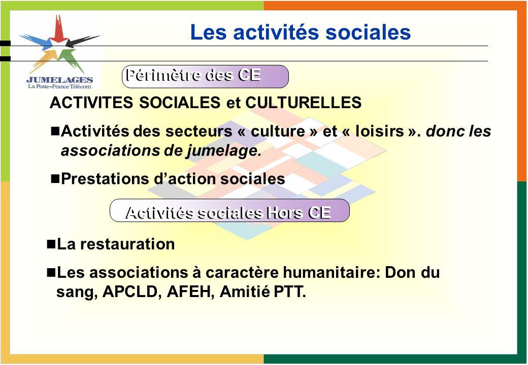 Les activités sociales Périmètre des CE ACTIVITES SOCIALES et CULTURELLES Activités des secteurs « culture » et « loisirs ». donc les associations de