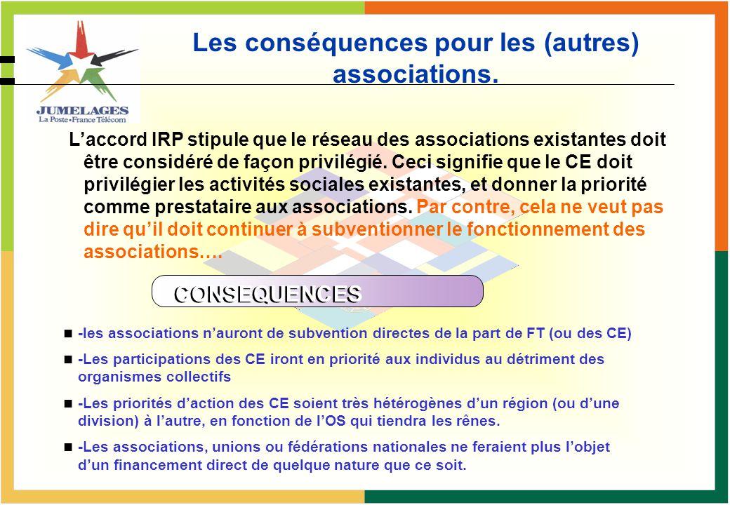 Les conséquences pour les (autres) associations. Laccord IRP stipule que le réseau des associations existantes doit être considéré de façon privilégié