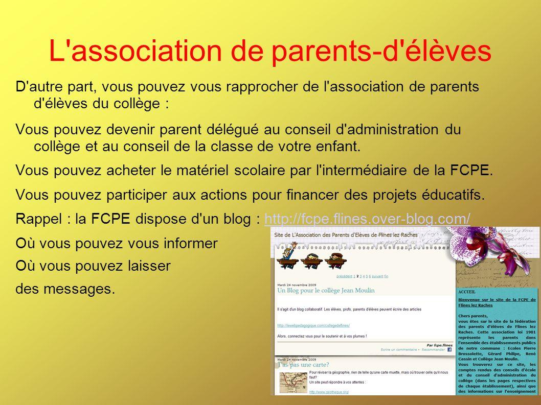 L'association de parents-d'élèves D'autre part, vous pouvez vous rapprocher de l'association de parents d'élèves du collège : Vous pouvez devenir pare