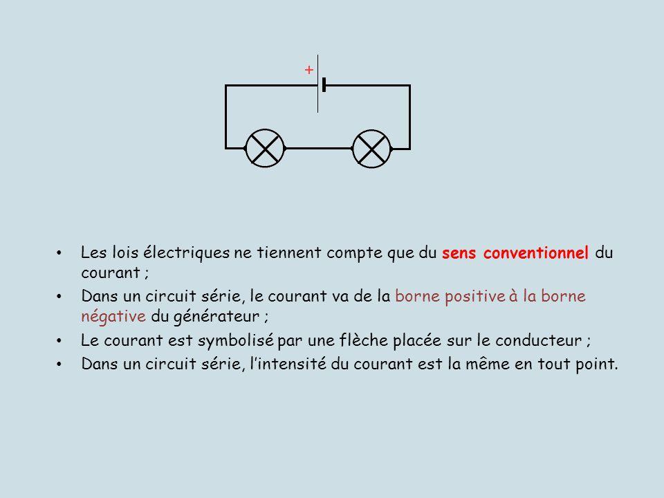 Les lois électriques ne tiennent compte que du sens conventionnel du courant ; Dans un circuit série, le courant va de la borne positive à la borne né