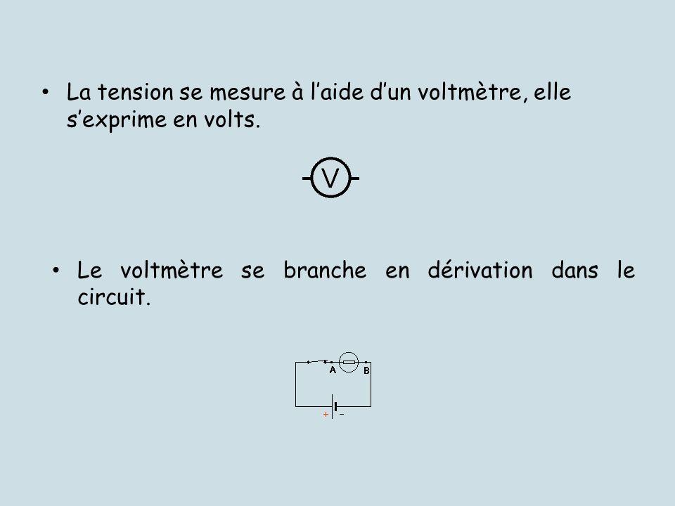 La tension se mesure à laide dun voltmètre, elle sexprime en volts. Le voltmètre se branche en dérivation dans le circuit.