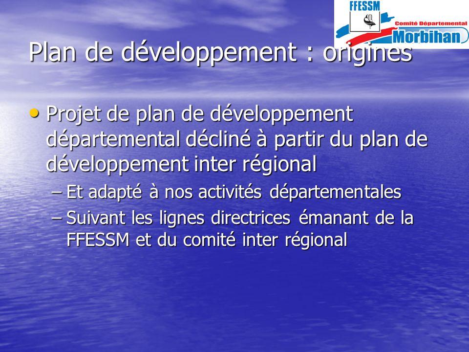Plan de développement : origines Projet de plan de développement départemental décliné à partir du plan de développement inter régional Projet de plan de développement départemental décliné à partir du plan de développement inter régional –Et adapté à nos activités départementales –Suivant les lignes directrices émanant de la FFESSM et du comité inter régional