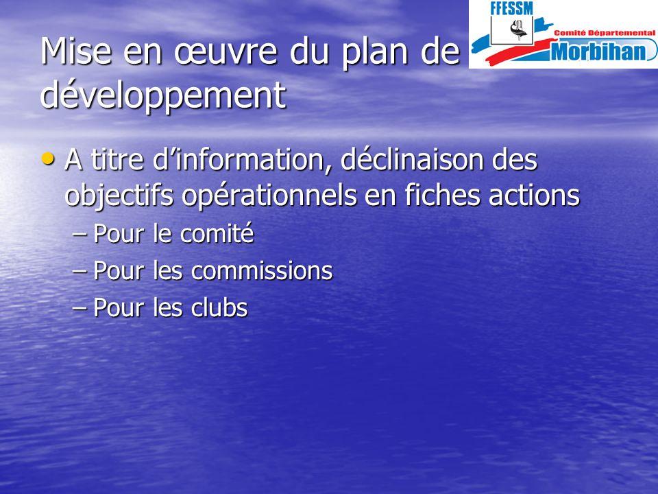 Mise en œuvre du plan de développement A titre dinformation, déclinaison des objectifs opérationnels en fiches actions A titre dinformation, déclinaison des objectifs opérationnels en fiches actions –Pour le comité –Pour les commissions –Pour les clubs
