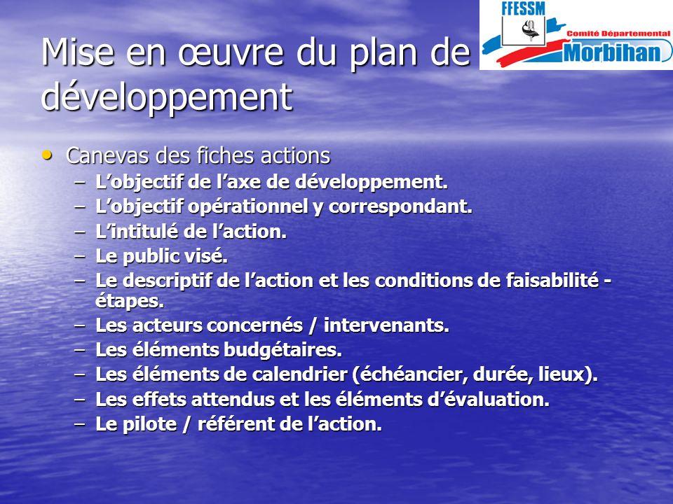Mise en œuvre du plan de développement Canevas des fiches actions Canevas des fiches actions –Lobjectif de laxe de développement.