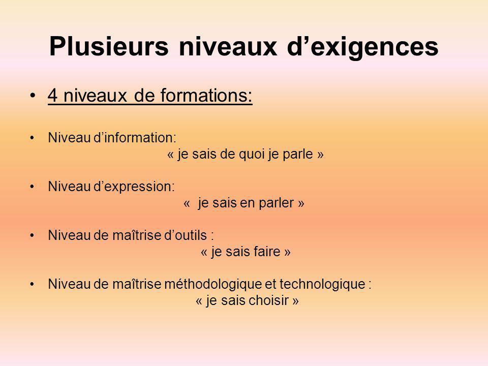 Plusieurs niveaux dexigences 4 niveaux de formations: Niveau dinformation: « je sais de quoi je parle » Niveau dexpression: « je sais en parler » Nive
