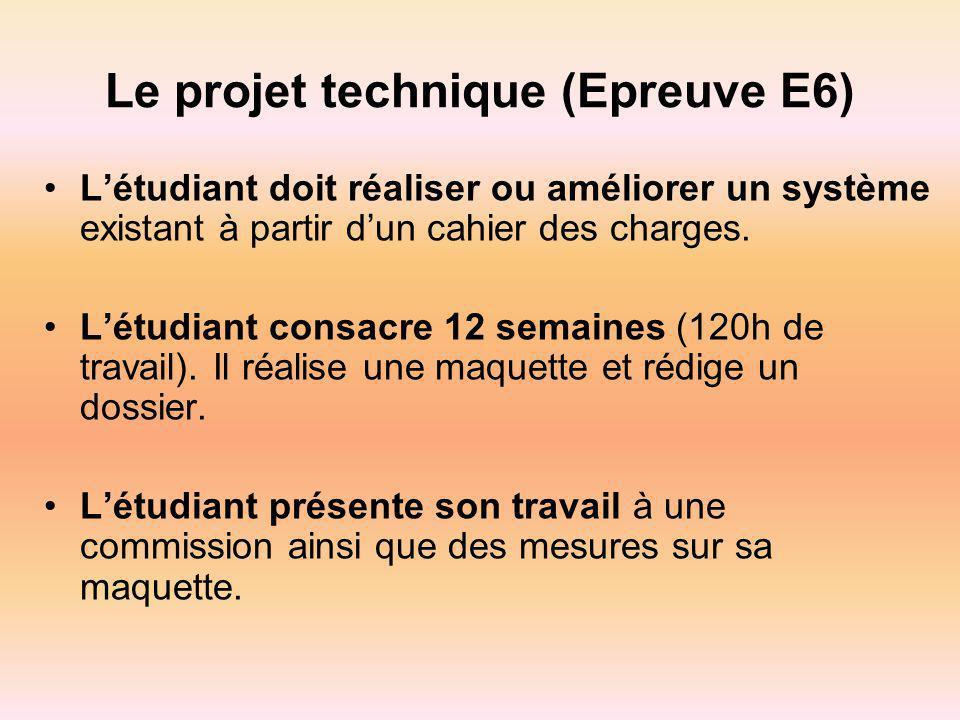 Le projet technique (Epreuve E6) Létudiant doit réaliser ou améliorer un système existant à partir dun cahier des charges. Létudiant consacre 12 semai