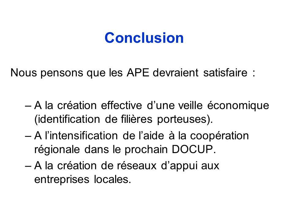 Conclusion Nous pensons que les APE devraient satisfaire : –A la création effective dune veille économique (identification de filières porteuses). –A