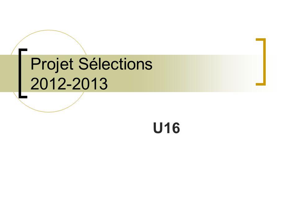 Projet Sélections 2012-2013 U16