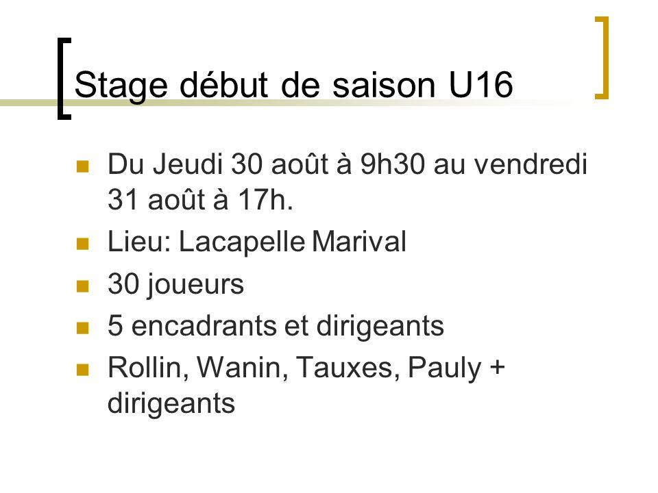 Stage début de saison U16 Du Jeudi 30 août à 9h30 au vendredi 31 août à 17h.