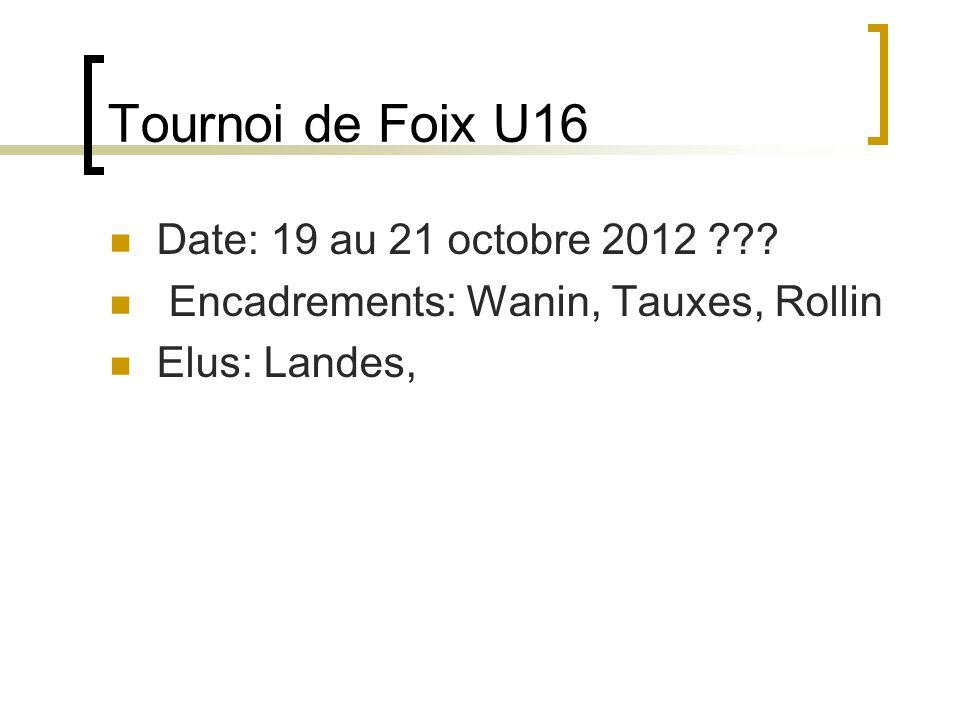 Tournoi de Foix U16 Date: 19 au 21 octobre 2012 .