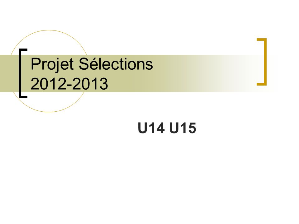 Projet Sélections 2012-2013 U14 U15