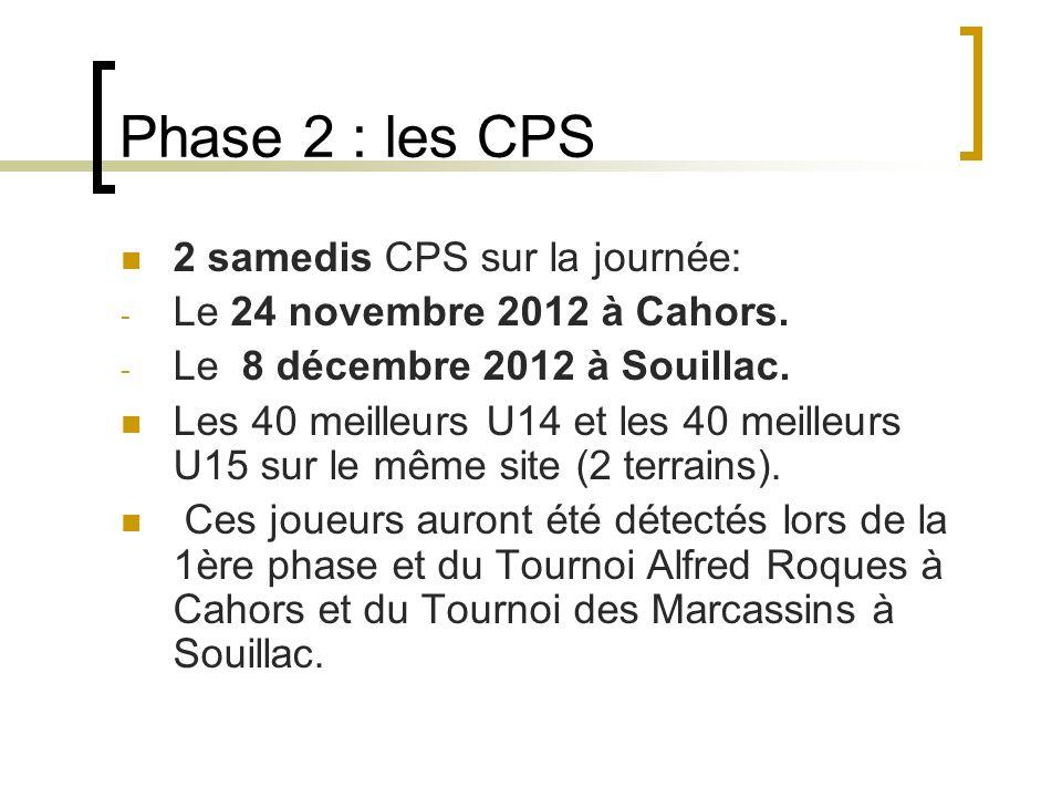 Phase 2 : les CPS 2 samedis CPS sur la journée: - Le 24 novembre 2012 à Cahors.
