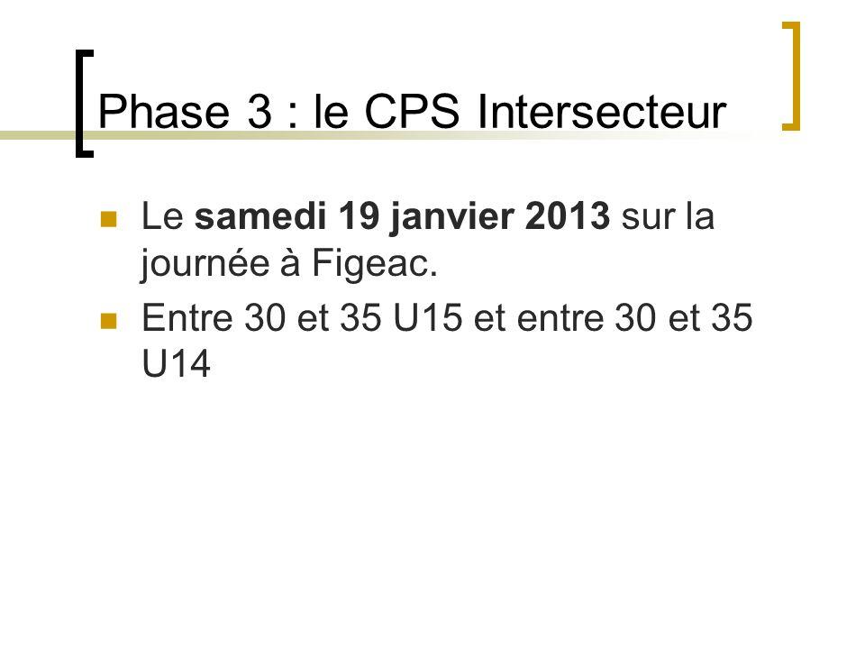 Phase 3 : le CPS Intersecteur Le samedi 19 janvier 2013 sur la journée à Figeac.