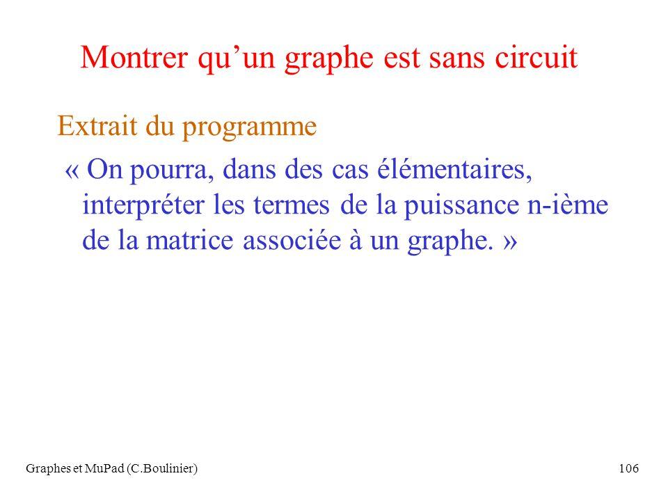 Graphes et MuPad (C.Boulinier)106 Montrer quun graphe est sans circuit Extrait du programme « On pourra, dans des cas élémentaires, interpréter les te