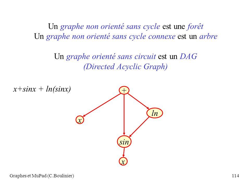 Graphes et MuPad (C.Boulinier)114 Un graphe non orienté sans cycle est une forêt Un graphe non orienté sans cycle connexe est un arbre Un graphe orien