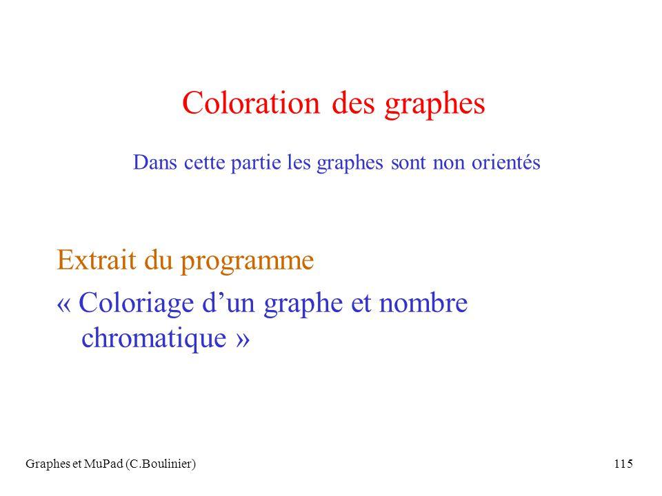 Graphes et MuPad (C.Boulinier)115 Coloration des graphes Dans cette partie les graphes sont non orientés Extrait du programme « Coloriage dun graphe e