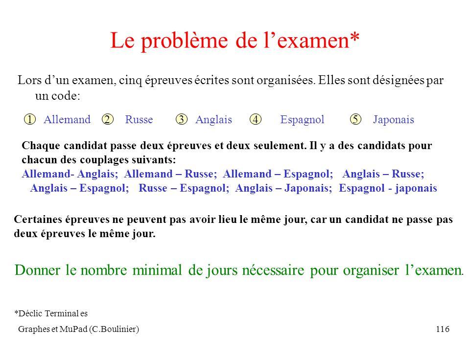 Graphes et MuPad (C.Boulinier)116 Le problème de lexamen* Lors dun examen, cinq épreuves écrites sont organisées. Elles sont désignées par un code: 12