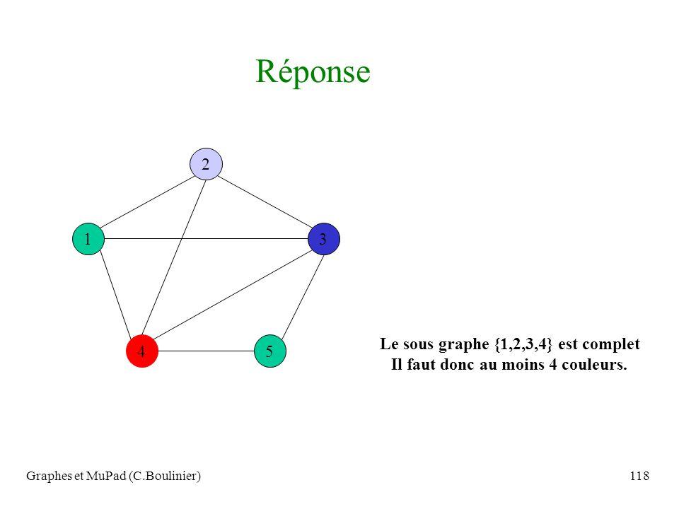 Graphes et MuPad (C.Boulinier)118 4 1 2 5 3 Le sous graphe {1,2,3,4} est complet Il faut donc au moins 4 couleurs. Réponse