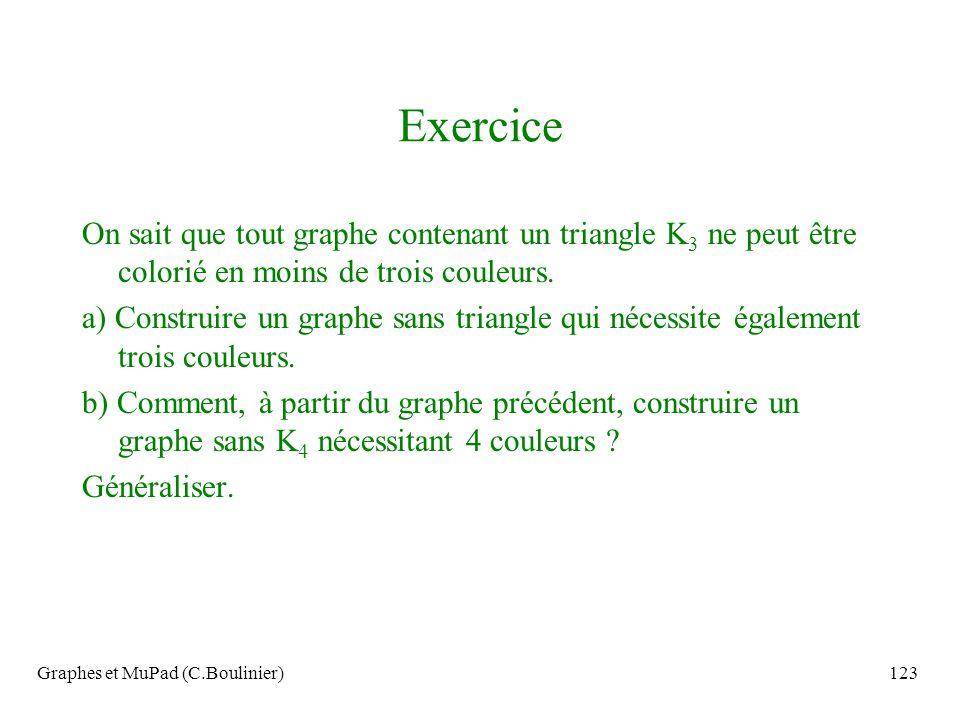 Graphes et MuPad (C.Boulinier)123 Exercice On sait que tout graphe contenant un triangle K 3 ne peut être colorié en moins de trois couleurs. a) Const