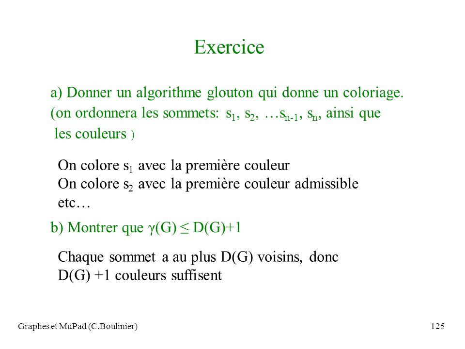 Graphes et MuPad (C.Boulinier)125 Exercice a) Donner un algorithme glouton qui donne un coloriage. (on ordonnera les sommets: s 1, s 2, …s n-1, s n, a