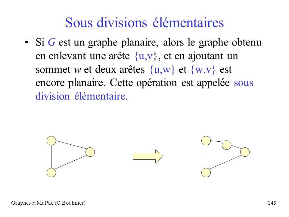 Graphes et MuPad (C.Boulinier)149 Sous divisions élémentaires Si G est un graphe planaire, alors le graphe obtenu en enlevant une arête {u,v}, et en a