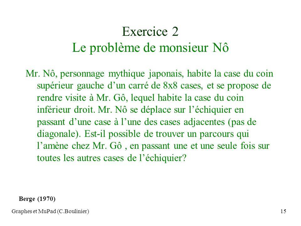 Graphes et MuPad (C.Boulinier)15 Exercice 2 Le problème de monsieur Nô Mr. Nô, personnage mythique japonais, habite la case du coin supérieur gauche d
