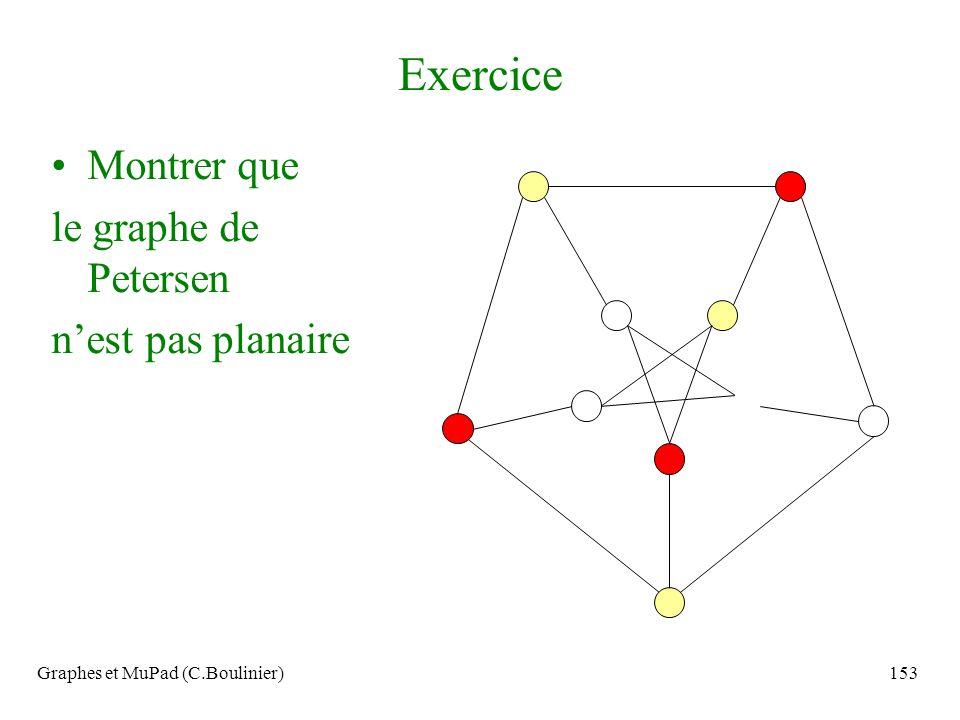 Graphes et MuPad (C.Boulinier)153 Exercice Montrer que le graphe de Petersen nest pas planaire