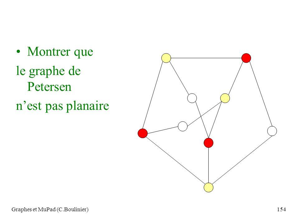 Graphes et MuPad (C.Boulinier)154 Montrer que le graphe de Petersen nest pas planaire