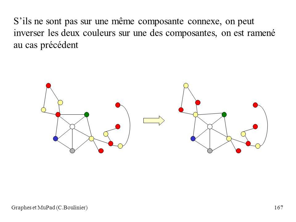 Graphes et MuPad (C.Boulinier)167 Sils ne sont pas sur une même composante connexe, on peut inverser les deux couleurs sur une des composantes, on est