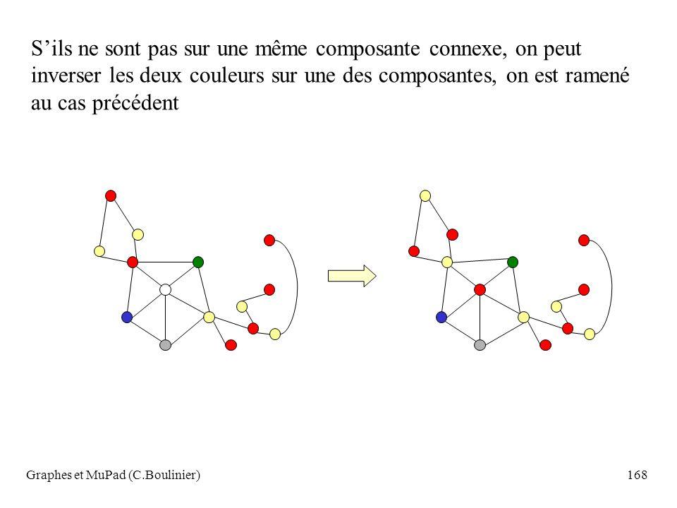 Graphes et MuPad (C.Boulinier)168 Sils ne sont pas sur une même composante connexe, on peut inverser les deux couleurs sur une des composantes, on est