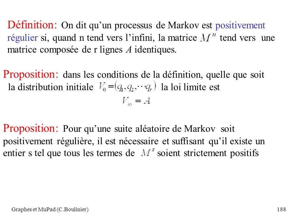 Graphes et MuPad (C.Boulinier)188 Définition: On dit quun processus de Markov est positivement régulier si, quand n tend vers linfini, la matrice tend