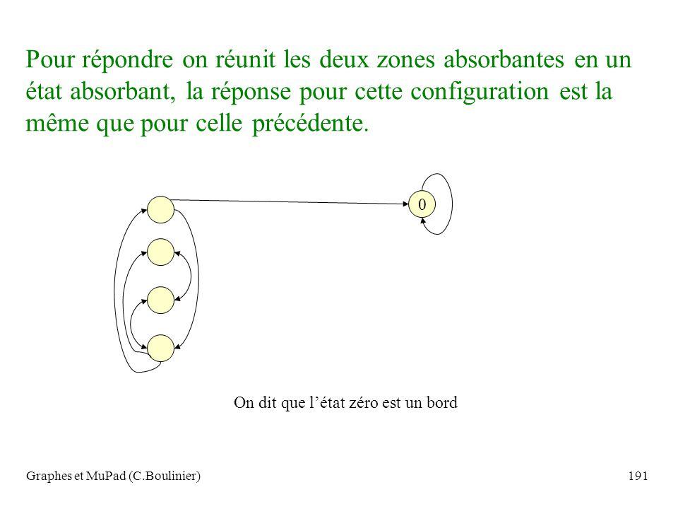 Graphes et MuPad (C.Boulinier)191 0 Pour répondre on réunit les deux zones absorbantes en un état absorbant, la réponse pour cette configuration est l