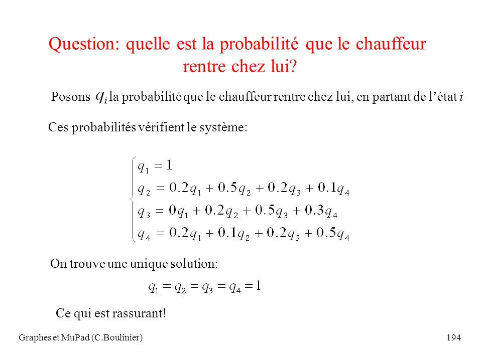 Graphes et MuPad (C.Boulinier)194 Question: quelle est la probabilité que le chauffeur rentre chez lui? Posons la probabilité que le chauffeur rentre