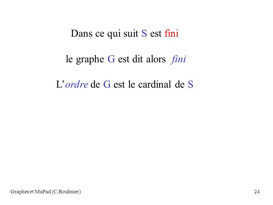 Graphes et MuPad (C.Boulinier)24 Dans ce qui suit S est fini le graphe G est dit alors fini Lordre de G est le cardinal de S