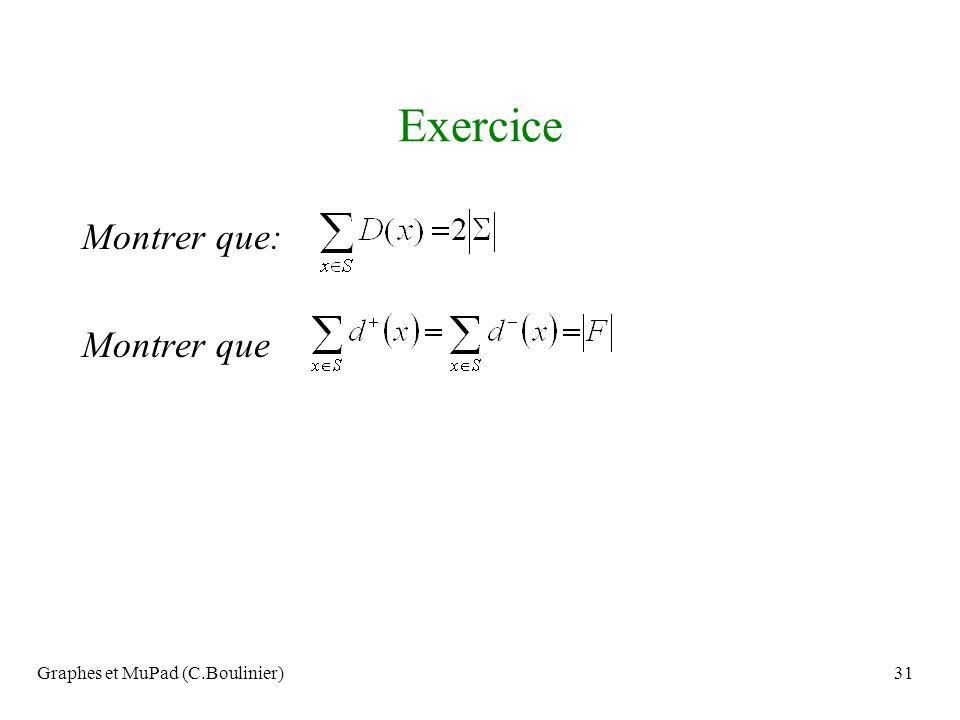 Graphes et MuPad (C.Boulinier)31 Exercice Montrer que: Montrer que