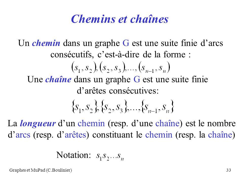 Graphes et MuPad (C.Boulinier)33 Chemins et chaînes Un chemin dans un graphe G est une suite finie darcs consécutifs, cest-à-dire de la forme : Une ch
