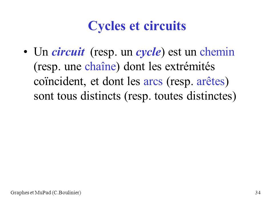 Graphes et MuPad (C.Boulinier)34 Cycles et circuits Un circuit (resp. un cycle) est un chemin (resp. une chaîne) dont les extrémités coïncident, et do